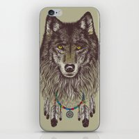 pen iPhone & iPod Skins featuring Wind Catcher Wolf by Rachel Caldwell