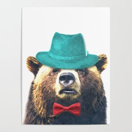 Funny Bear Illustration Poster