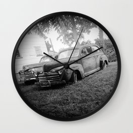 Black and White Classic Ford Cars Wall Clock