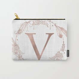 Letter V Rose Gold Pink Initial Monogram Carry-All Pouch