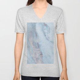 Light Blue Gray Marble Unisex V-Neck