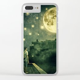 rooftops mystery night Clear iPhone Case