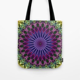 Colorful mandala with blue and pink petals ornament Tote Bag