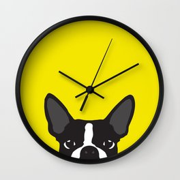 Boston Terrier Yellow Wall Clock