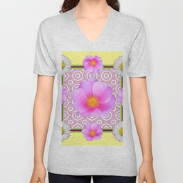 Modern Art Style Shasta Daisy Pink Roses  Yellow color Abstract art Unisex V-Neck