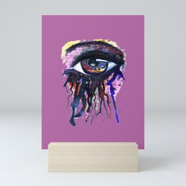 Rainbow eye splashing watercolor and ink Mini Art Print