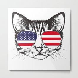 USA FLAGGED CAT Metal Print