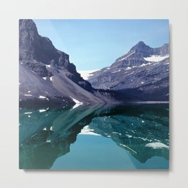 Bow Lake Water Reflections in the Canadian Rockies Metal Print