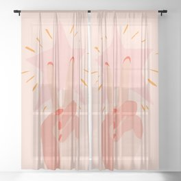 Abstraction_PEACE_AND_BE_A__STAR_Minimalism_001 Sheer Curtain