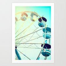 Blue Carousel Art Print