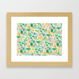 Jungle life with golden unicorn Framed Art Print