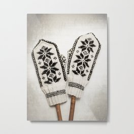 Old knitted mittens Metal Print