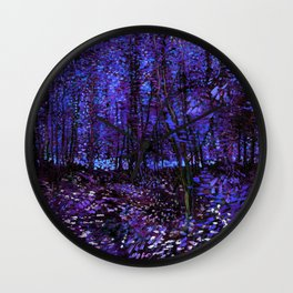 Van Gogh Trees & Underwood Purple Blue Wall Clock