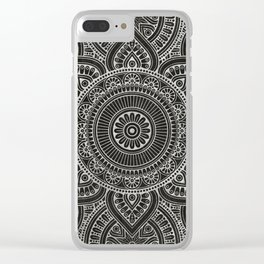 Silver mandala on black ink Clear iPhone Case