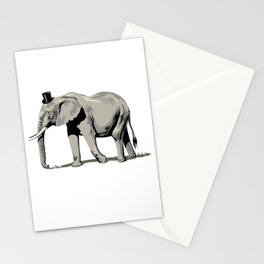 Elephant Wearing Tiny Top Hat Stationery Cards