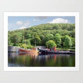 Clyde Puffers on the Crinan Canal Scotland Art Print