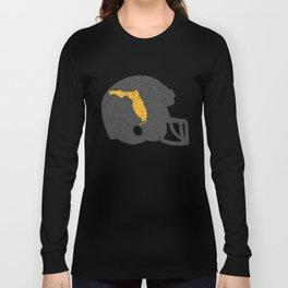 State Shape of Florida Vintage Football Helmet Long Sleeve T-shirt