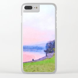 Calm Pink Sunset over Lake Windermere, Lake District, England Watercolor Painting Clear iPhone Case