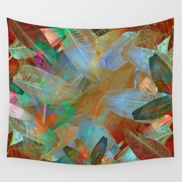"""""""Spring Tropical Pastel Leaves"""" Wall Tapestry"""
