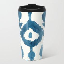 Painterly Flower Ikat Indigo Metal Travel Mug