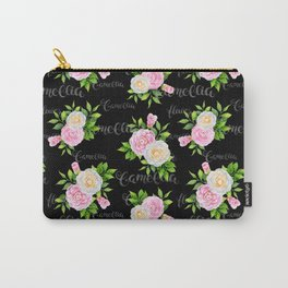 Watercolor blush pink white black camellia floral typography Carry-All Pouch