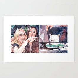 Woman Yelling at Cat Art Print