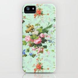 Antique romantic vintage 1800s Victorian floral shabby rose flowers pattern aqua mint hipster print iPhone Case