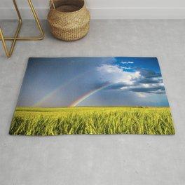 Daydream - Double Rainbow Above Kansas Wheat Field Rug