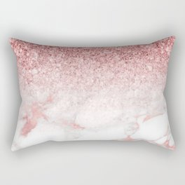 Rose-gold faux glitter and marble ombre Rectangular Pillow