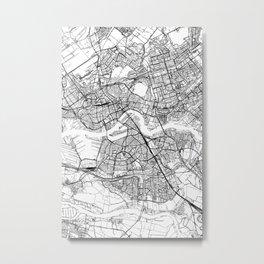 Rotterdam White Map Metal Print