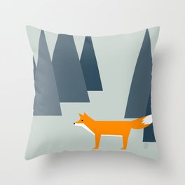 fox, woodland animals, minimal Throw Pillow