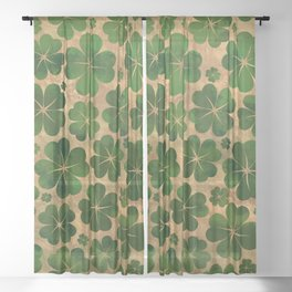 Lucky Shamrock Four-leaf Clover Pattern Watercolor Sheer Curtain