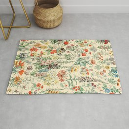 Wildflower Diagram // Fleurs II by Adolphe Millot XL 19th Century Science Textbook Artwork Rug
