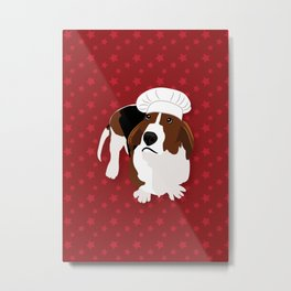 Bassets in Hats - Master Chef Metal Print