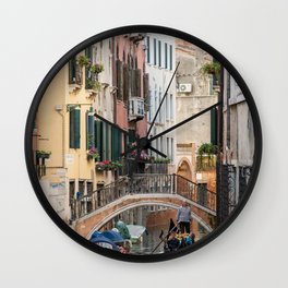 Canals of Venice with Gondola, Classic Italy Travel Photograph, Colorful Venice Canals Wall Clock