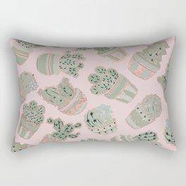 Blush pink mint green rose gold cactus floral Rectangular Pillow