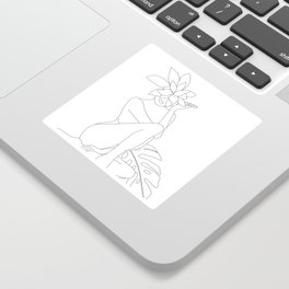 Minimal Line Art Woman with Tropical Leaves Sticker