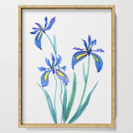 blue iris watercolor Serving Tray