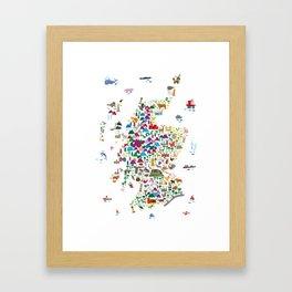 Animal Map of Scotland for children and kids Framed Art Print