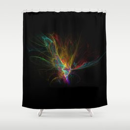 Fractal on black Shower Curtain