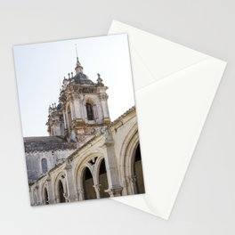 View of the Alcobaca Monastery from the cloister on bright, sunny day. Stationery Cards