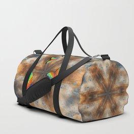 Surreal butterflies on corrugated iron mandala Duffle Bag