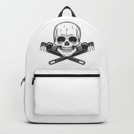 Skull builder from new construction with crossed wrenches plumbing and gas pipes print Backpack