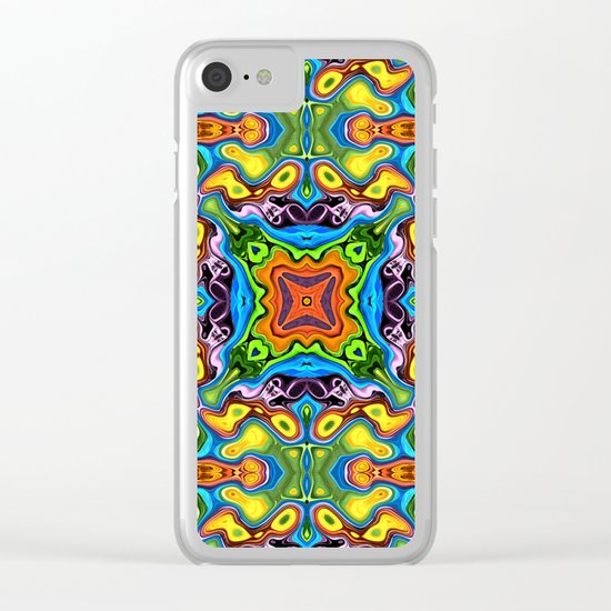 Colorful Mandala Pattern Clear iPhone Case