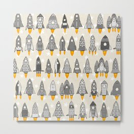 retro rockets mono Metal Print