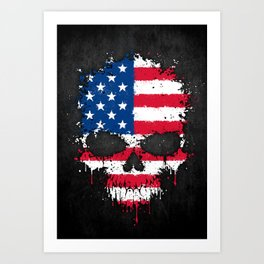 Flag of The United States on a Chaotic Splatter Skull Art Print