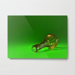Orange on Green Metal Print