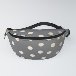 Simply Dots White Gold Sands on Storm Gray Fanny Pack