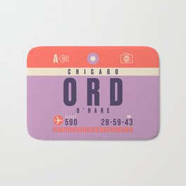 Retro Airline Luggage Tag - ORD Chicago O'Hare Bath Mat