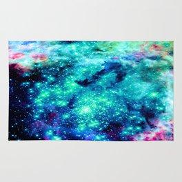 Colorful Teal Galaxy Sparkle Stars Rug
